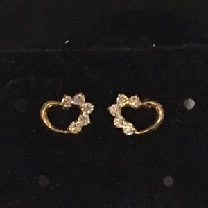 14K Yellow Gold Child's Heart CZ Post Earrings